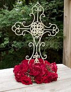 Cross French White Ornate