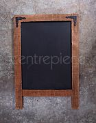 Blackboard Rustic Wooden Frame - Metal Top Corners
