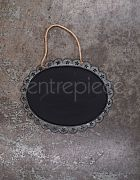 Chalkboard Sign Hanging Metal Oval Large