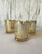 Votive Antiqued Gold & Candle