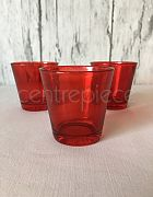 Red Glass Votive & Candle
