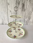 Cake Stand Ceramic 3 Tier Floral Green