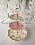 Cake Stand Ceramic 3 Tier Floral Pink