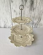 Cake Stand Ceramic 3 Tier French White