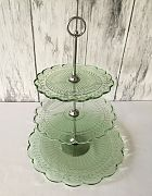 Cake Stand Pressed Glass (Green) 3 Tier