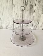 Cake Stand Pressed Glass (Pink) 3 Tier