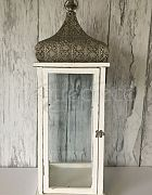 Lantern Moroccan White Large (Silver Top)