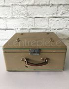 Suitcase Vintage Green and Brown Stripe