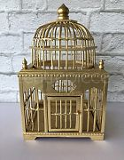 Birdcage Wooden Dome Gold
