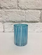Votive Round Aqua Blue with White stripes