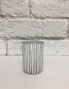 Votive Round White Stripes
