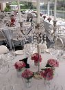 This silver and crystal candelabra was perfectly accented by the Rose posies placed in our Moroccan tea glasses.