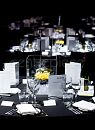 Acrylic cubes, lights, gel balls and bright yellow roses created eye catching splashes of colour amongst the black and white room decor.