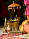 Our Moroccan table parasol creates a great colourful centrepiece with our collection of brass lamps